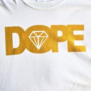 White/Gold  DOPE Tee Shirt Size 2XL